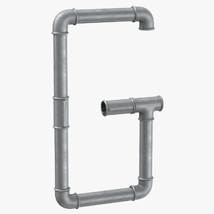galvanized steel pipe letter 3D model