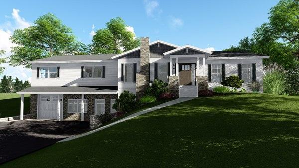 3D model story double gable house