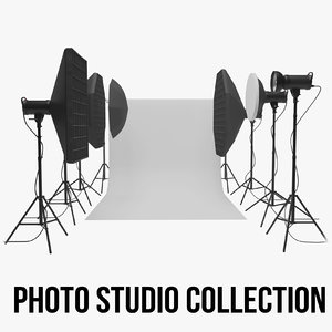 3D studio backdrop lights kit model
