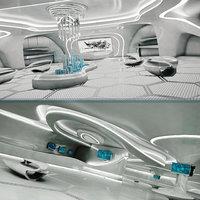 3D model sci-fi exhibition room design