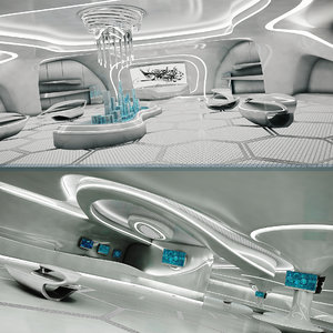 3D model sci-fi exhibition room design