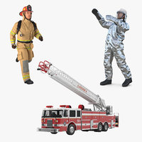 ladder truck firefighters rigged 3D model