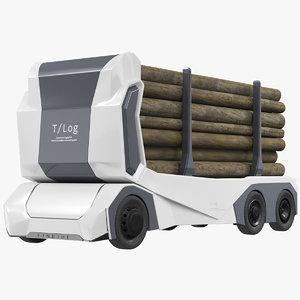 3D model t log electric truck