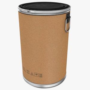3D fiber drum cardboard barrel model