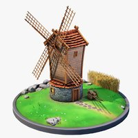 3D model stylized windmill