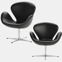 SWAN Chair Arne Jacobsen Fritz Hansen Black Leather