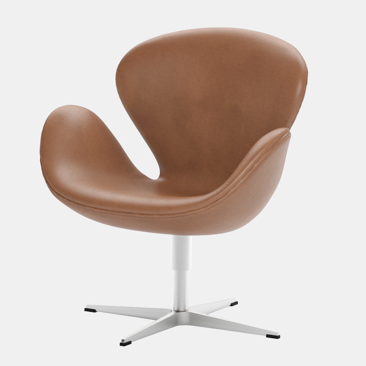 Terrific Swan Chair Arne Jacobsen Fritz Hansen Brown Leather Pabps2019 Chair Design Images Pabps2019Com