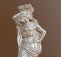 Architectural atlant sculpture from photogrammetry HP/LP with normal map
