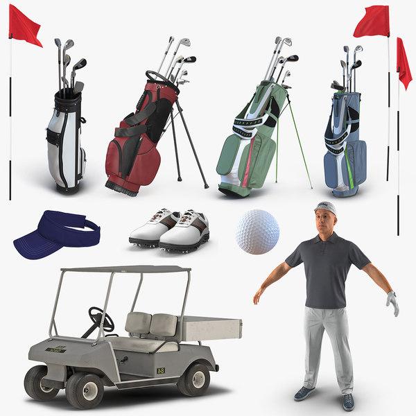 golf player equipment 3D model