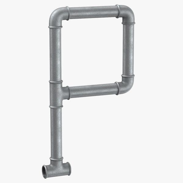 3D galvanized steel pipe letter model