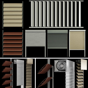 3D blinds shutters windows doors model