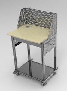 3D model aluminum computer desk