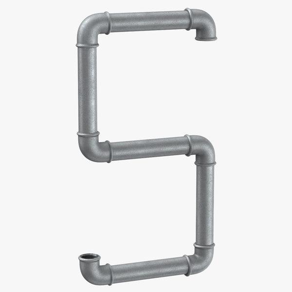 galvanized steel pipe letter 3D model