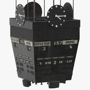 3D old ice hockey scoreboard model
