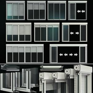 sliding stained glass doors 3D model
