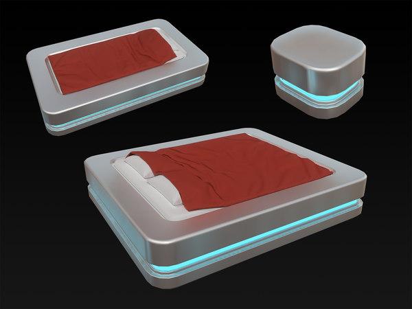 3D model scifi bed nightstand