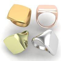 Printable signet rings set cushion top
