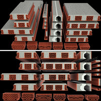 set ceramic blocks brick 3D model