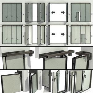 3D sliding gate doors garage model