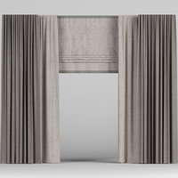 curtain brown roman 3D