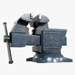 3D old vise ready asset model
