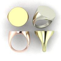 Printable signet rings set round top