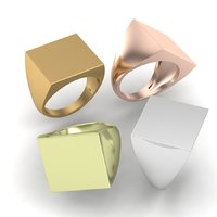 Printable signet rings set square top