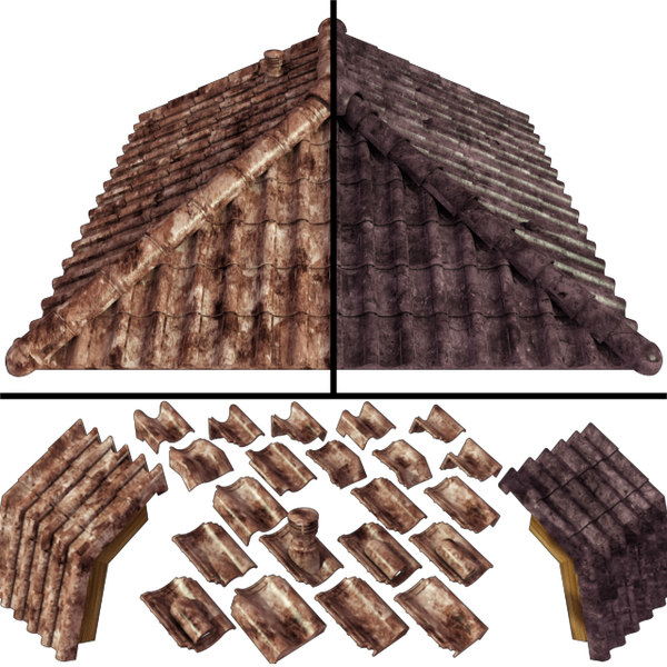 roof ceramic tiles 3D