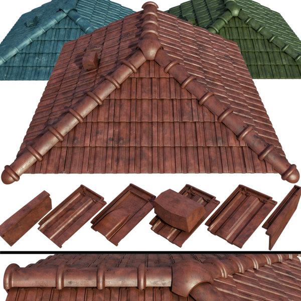 ceramic tiles roof 3D