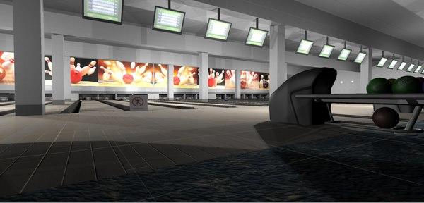3D model games bowling - interior room