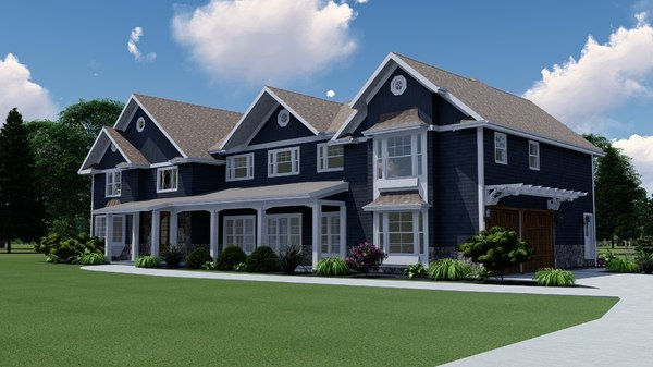 3D large new england house