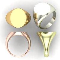 Printable Signet rings set elips top