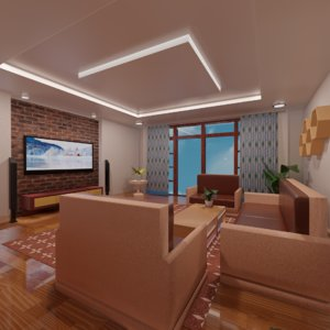 living room interior scene 3D model