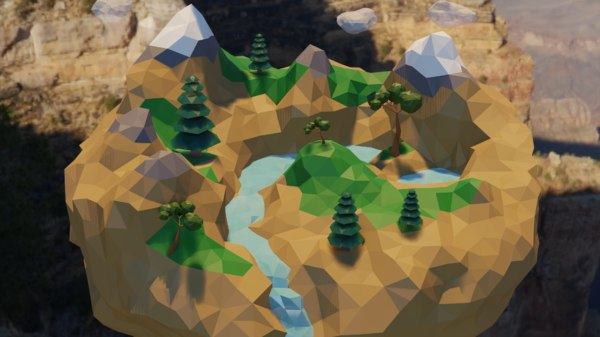 world island mountains waterfall model