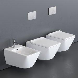 toilet viu wall-hung bidet 3D