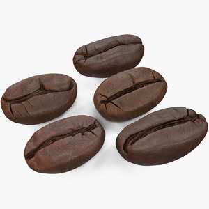 3D model coffee beans roasted 2