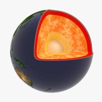3D stylized planet earth core