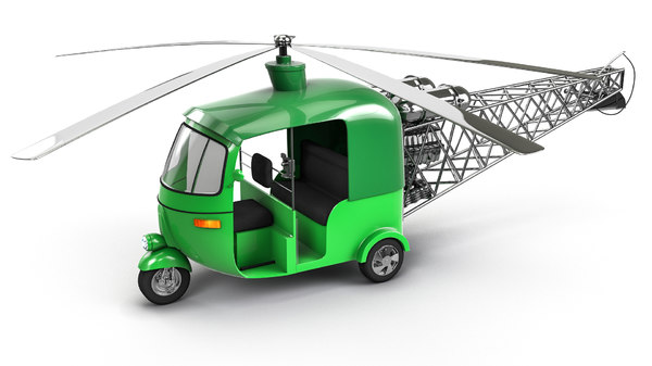 3D auto rickshaw helicopter model