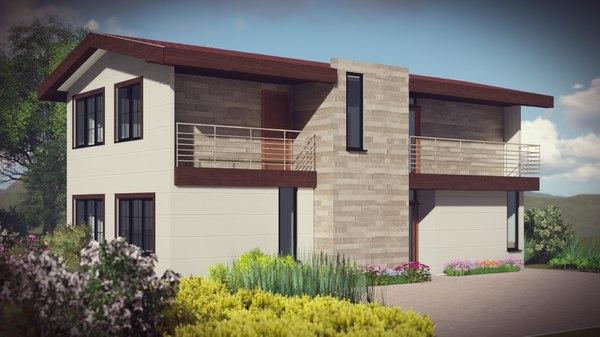 3D architecture duplex country house model