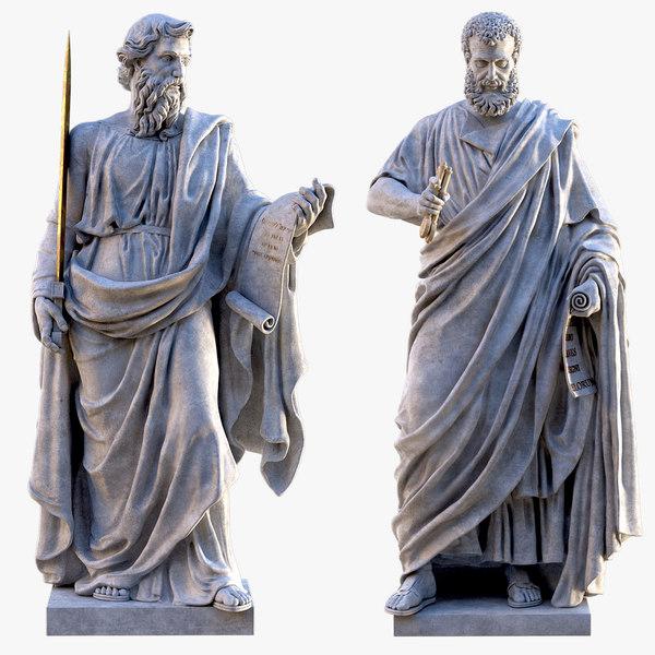 3D saint paul peter statue model