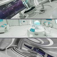realistic sci-fi control room model