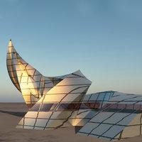 3D curl sci building futuristic architecture
