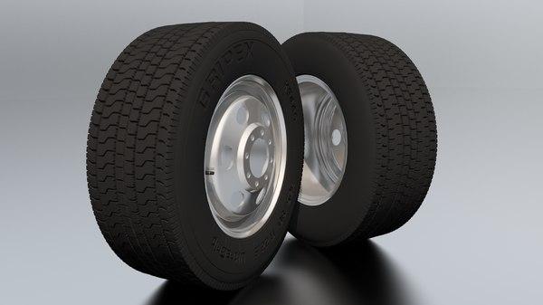 3D model detalied truck wheel