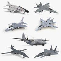 3D military airplanes 2 air force model