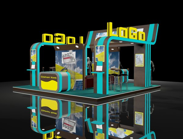 6x6 exhibition booth stand 3D model