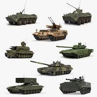 russian tanks rigged 2 3D model