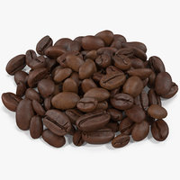 3D coffee beans roasted 3