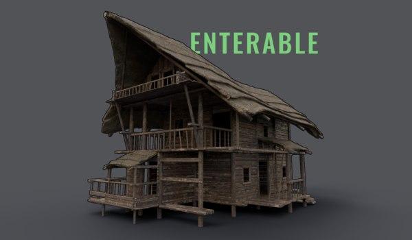 medieval house enterable model