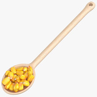 wooden spoon maize grain 3D model