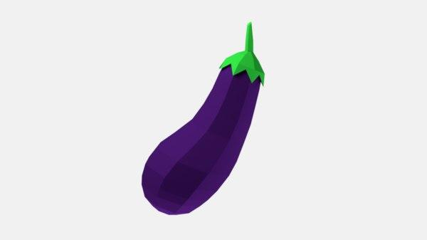 3D cartoon eggplant model